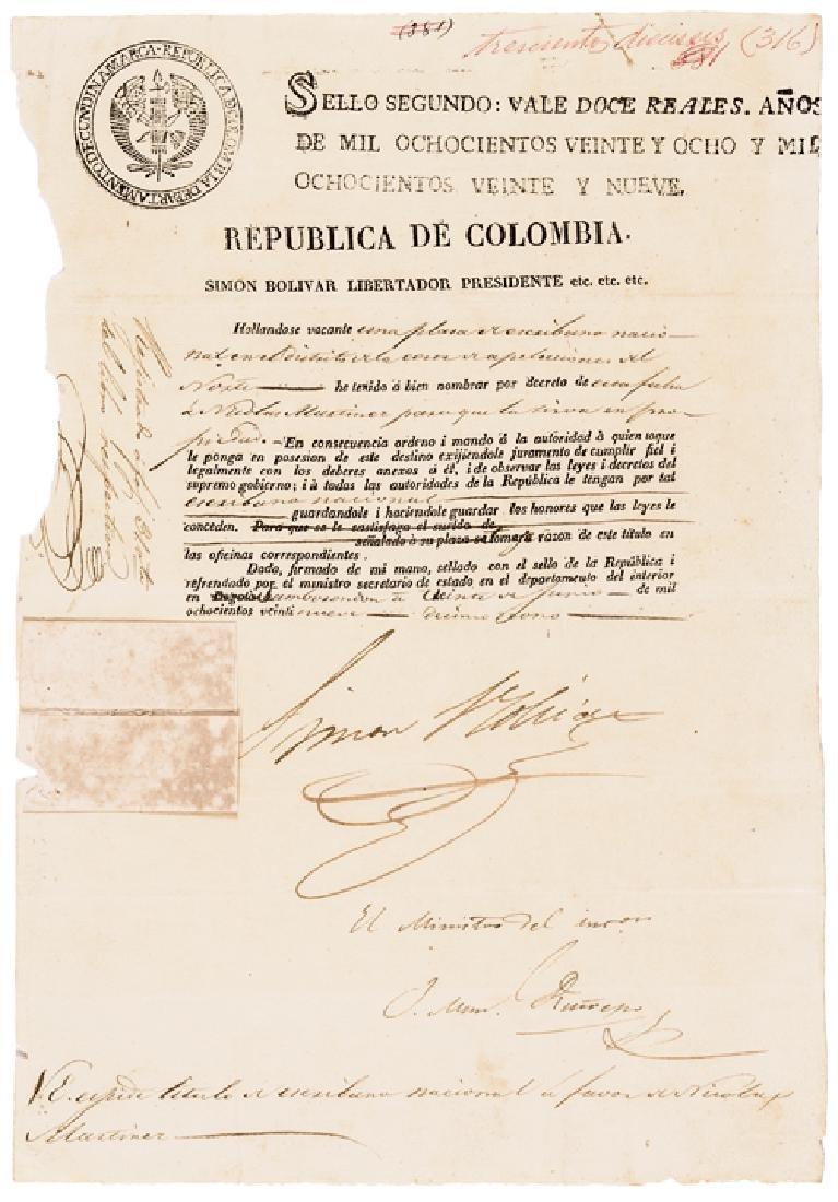1829 SIMON BOLIVAR Document Signed as President