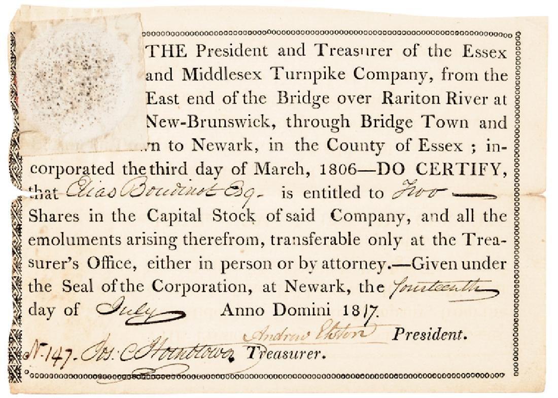 (ELIAS BOUDINOT) 1817 Stock Certificate Issued