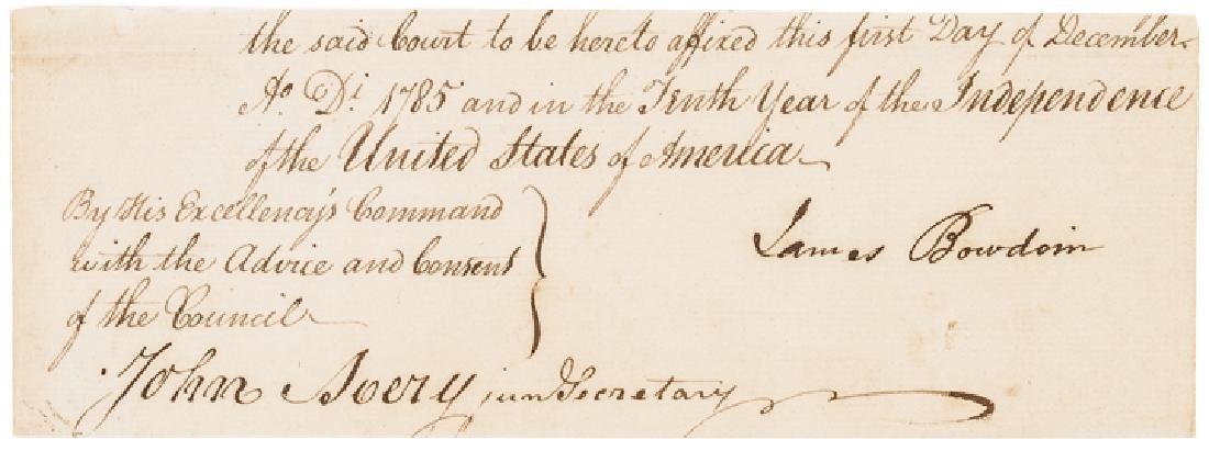 1785 JAMES BOWDOIN Document Signed MA. Governor