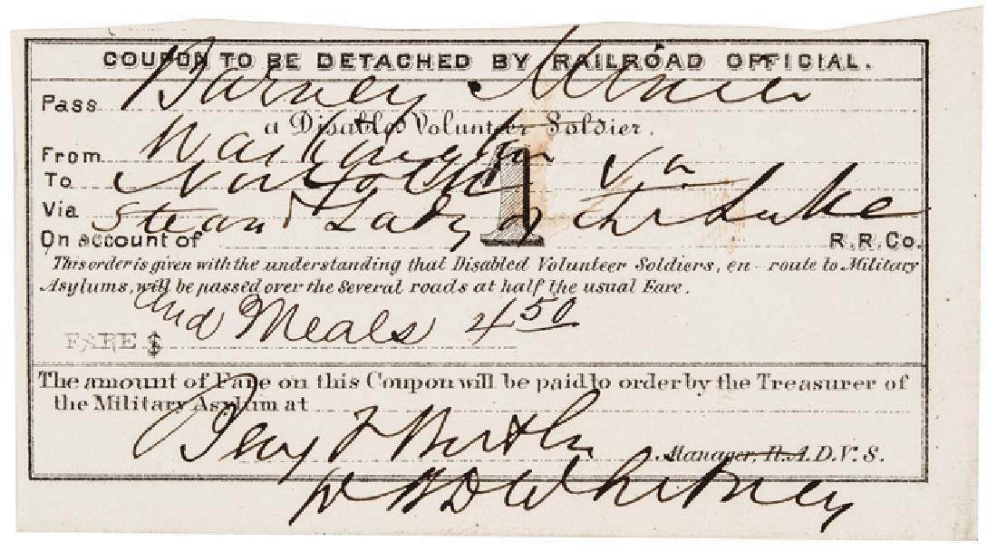 Major Gen. Benjamin Butler Railroad Ticket Signed