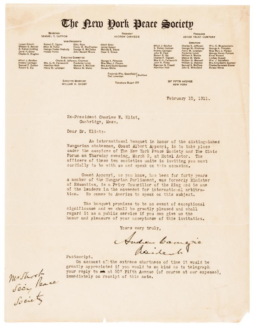 ANDREW CARNEGIE Signed N.Y. Peace Society Letter