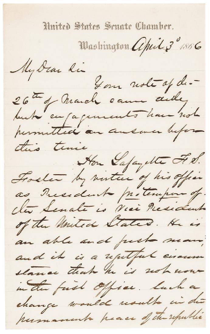 1866 JOHN CONNESS ALS Pres. LINCOLN's Succession