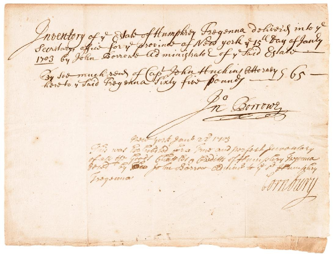 1703 CORNBURY Colonial NY Governor Signed Doc.