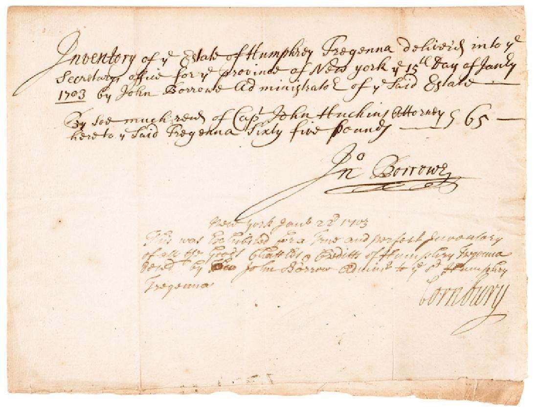 1703 CORNBURY Colonial NY Governor Signed Doc.