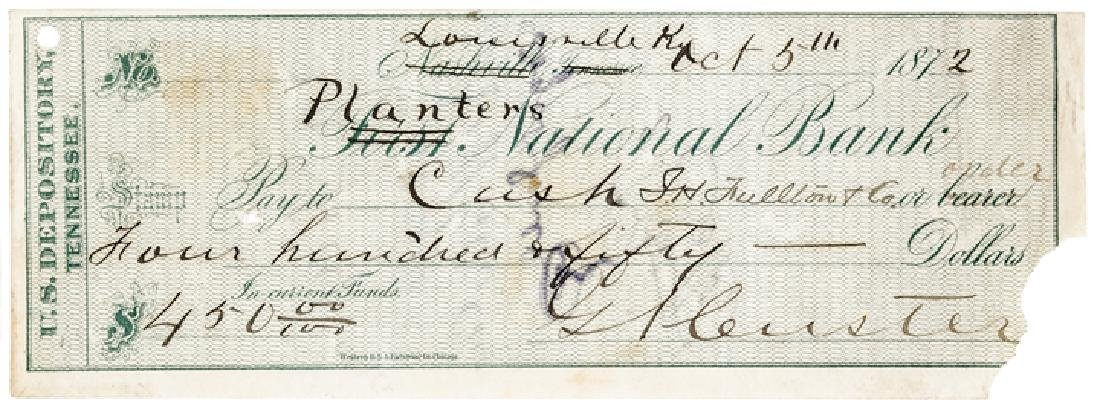 1872 General GEORGE ARMSTRONG CUSTER Signed Check