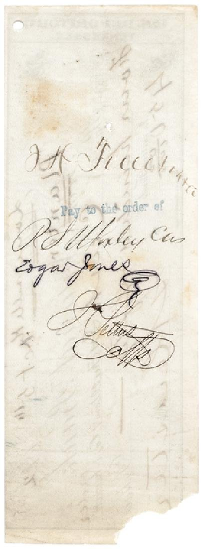 1872 General GEORGE ARMSTRONG CUSTER Signed Check - 2