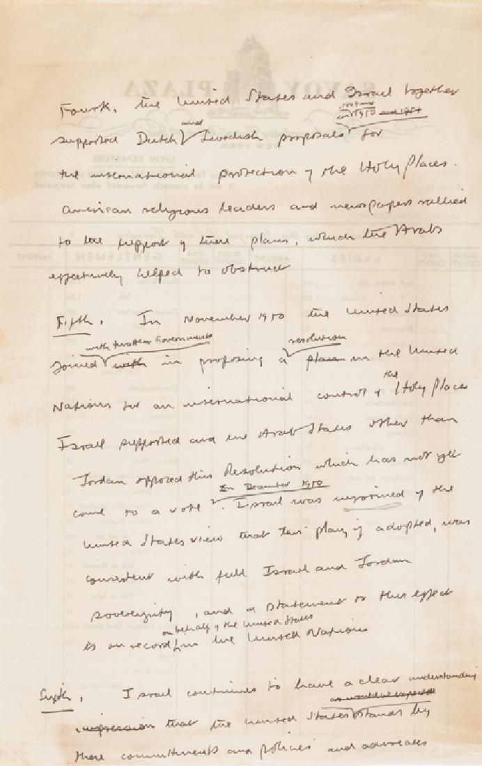 Israeli Minister ABBA EBAN Signed Item Archive!