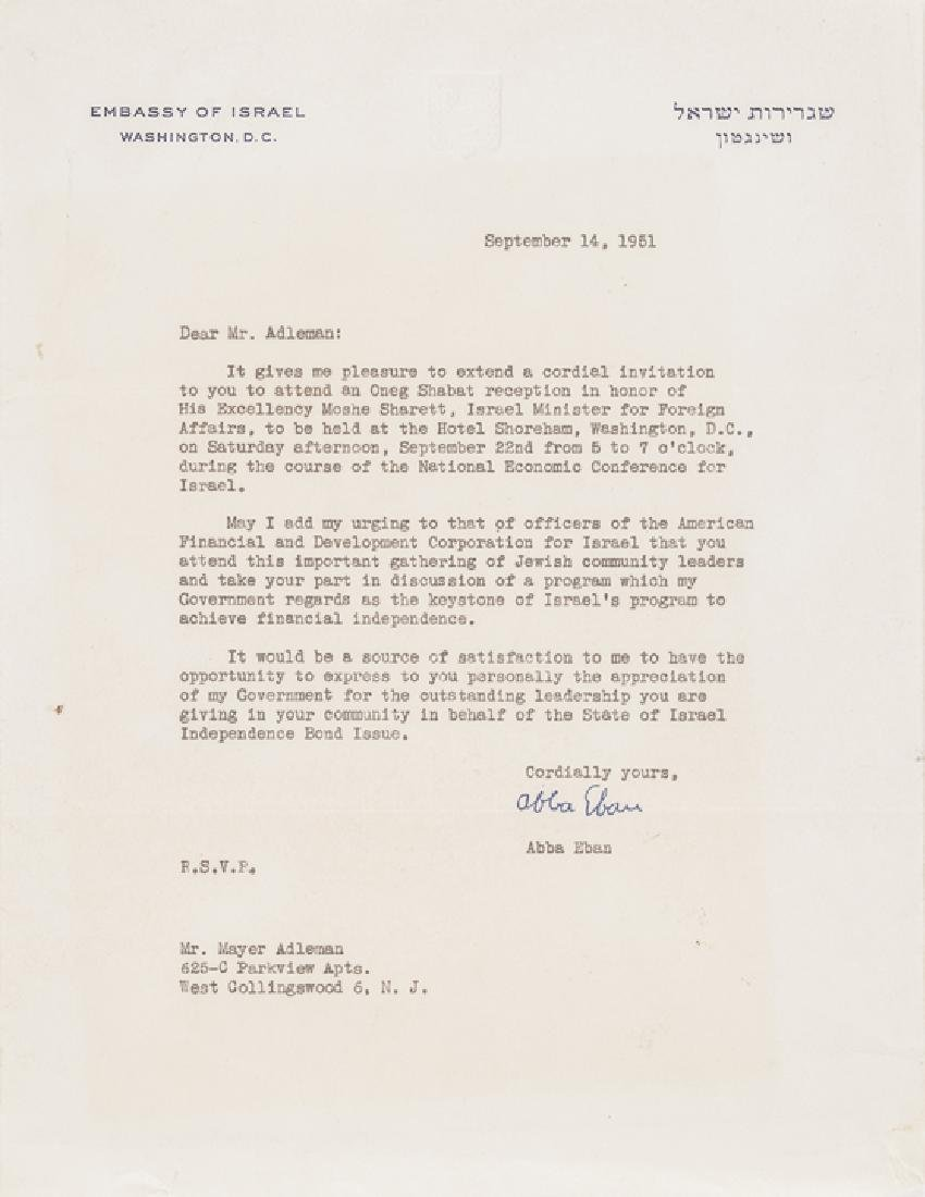 Israeli Minister ABBA EBAN Signed Item Archive! - 5