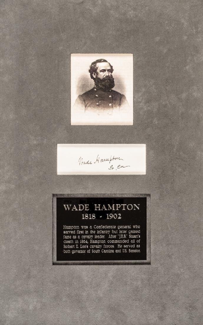 WADE HAMPTON Confederate Cavalry General Signature