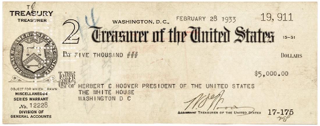 1933 President Herbert Hoover Endorsed Pay Check!