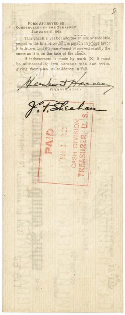 1933 President Herbert Hoover Endorsed Pay Check! - 2