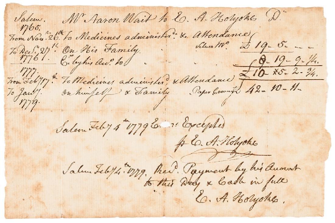 1779 Revolutionary War Dr. Edward Holyoke Invoice