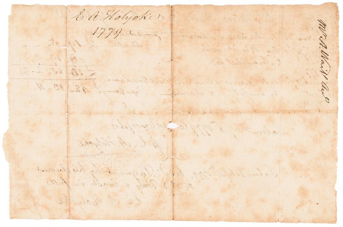 1779 Revolutionary War Dr. Edward Holyoke Invoice - 2