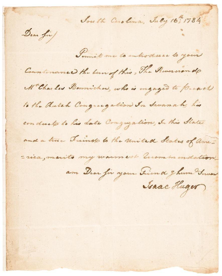 1784 Continental Army General ISAAC HUGER ALS