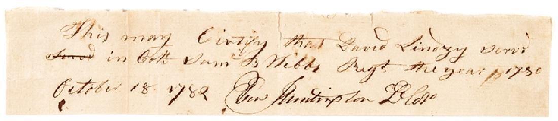 1782 General Ebenezer Huntington Signed Document