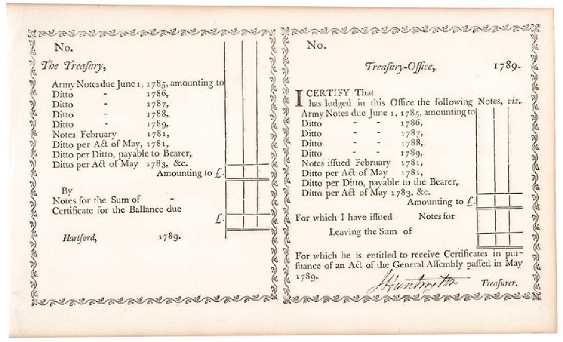 1789 Rev War Gen. JEDEDIAH HUNTINGTON Document