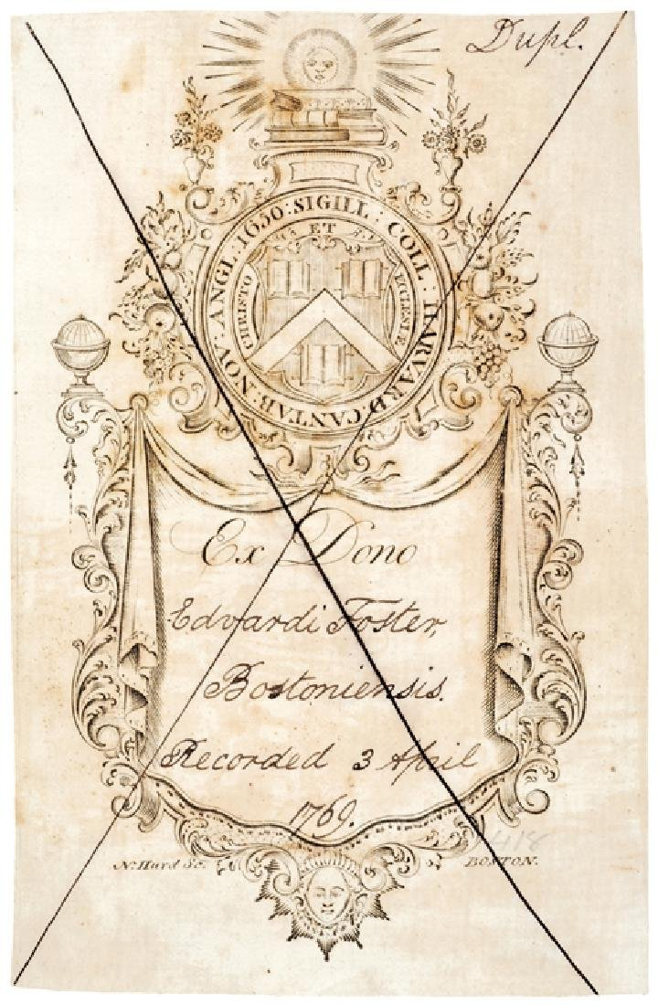 Engraved Bookplate by NATHANIEL HURD for Harvard - 2