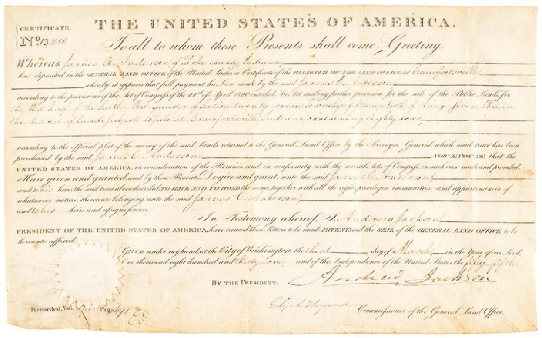 1831 President Andrew Jackson Signed Land Grant