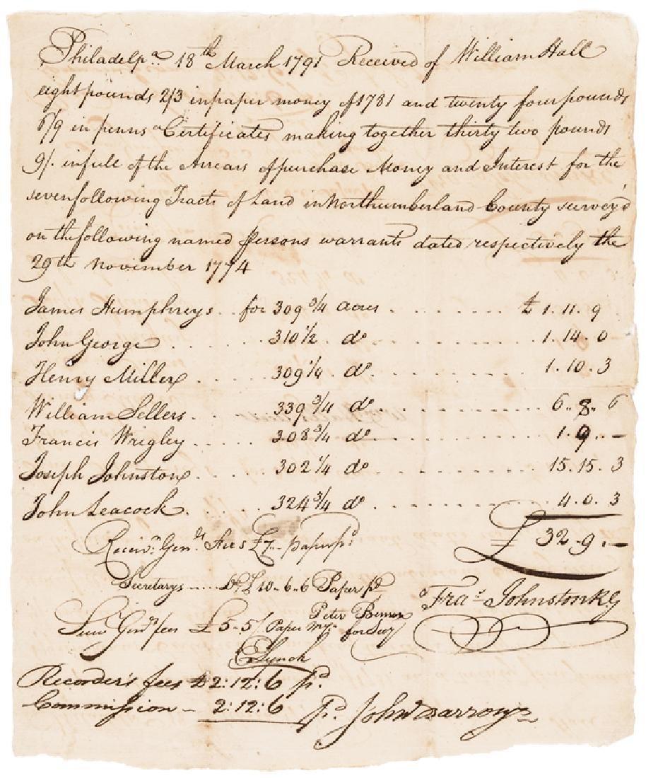 1791 Revolutionary War Colonel Fancis Johnston