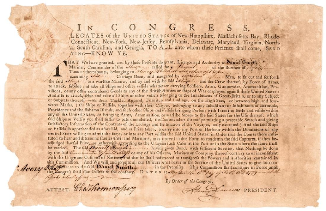 1779 HENRY LAURENS Signed Letter of Marque