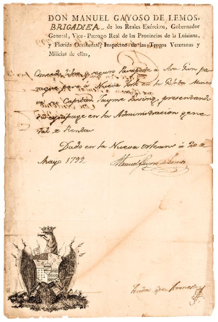 1799 MANUEL GAYOSO DE LEMOS Signed Document