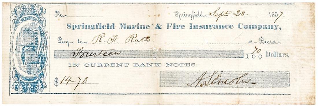 1857 Rare ABRAHAM LINCOLN Signed Personal Check!
