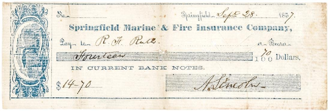 1857 Rare ABRAHAM LINCOLN Signed Personal Check!