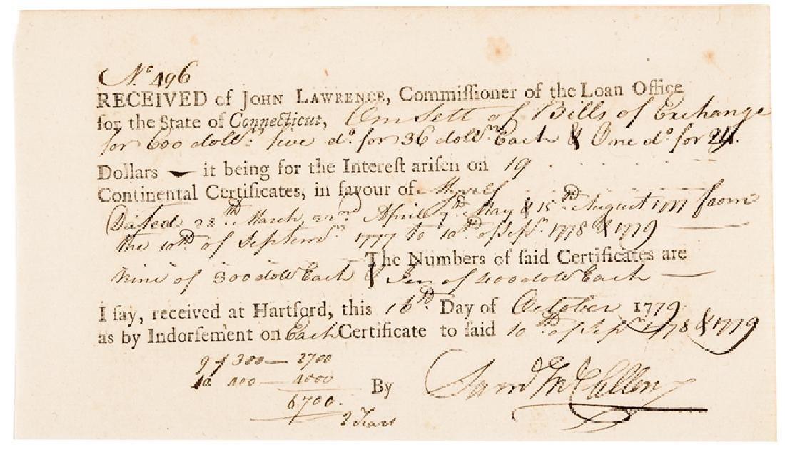 1779 Brig General SAMUEL MCCLELLAN Signed Receipt