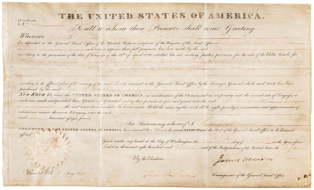 1823 President JAMES MONROE Signed Document