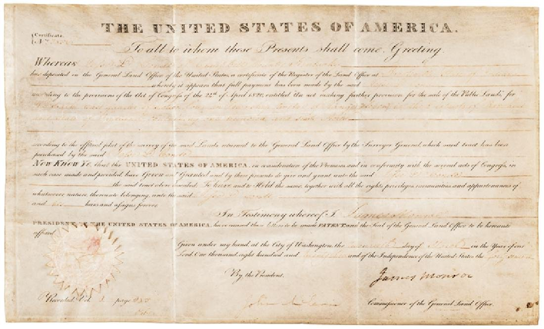 1823 President JAMES MONROE Signed Document