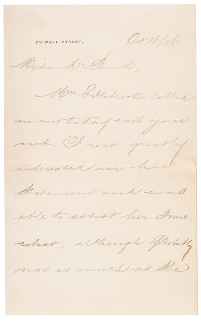 1906 Rare JOHN PIERPONT MORGAN Letter Signed