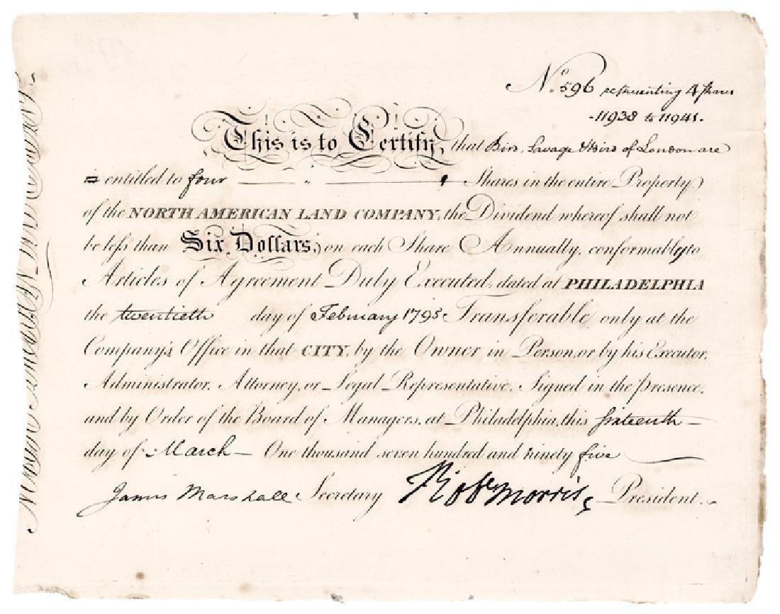 1795 Signer Robert Morris Signed Stock Certificate