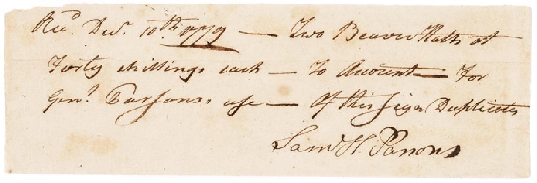 1779 Major General SAMUEL HOLDEN PARSONS Signed