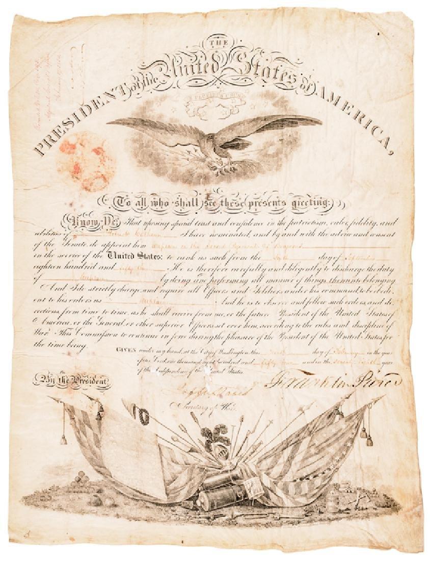 Franklin Pierce + Jefferson Davis Signed Document