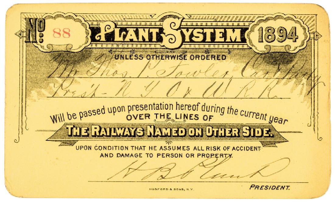 1894 HENRY B. PLANT Signed as Pres. Railroad Pass