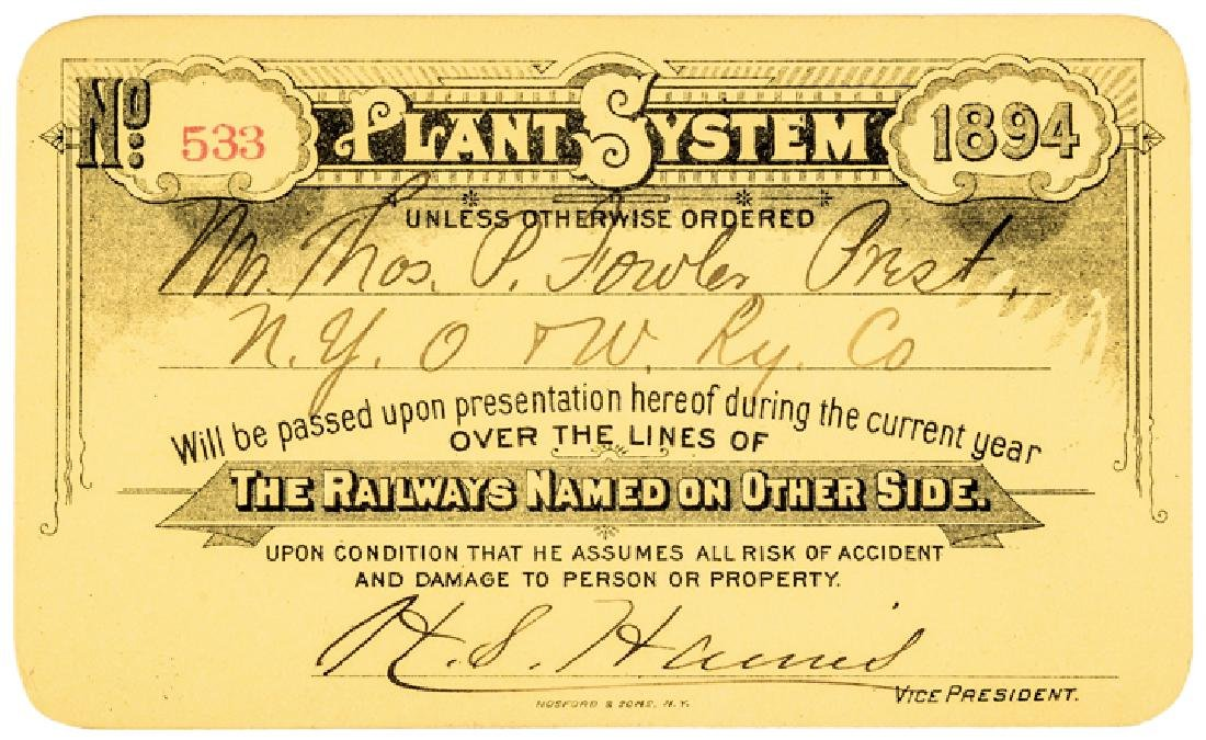 1894 HENRY B. PLANT Signed as Pres. Railroad Pass - 3