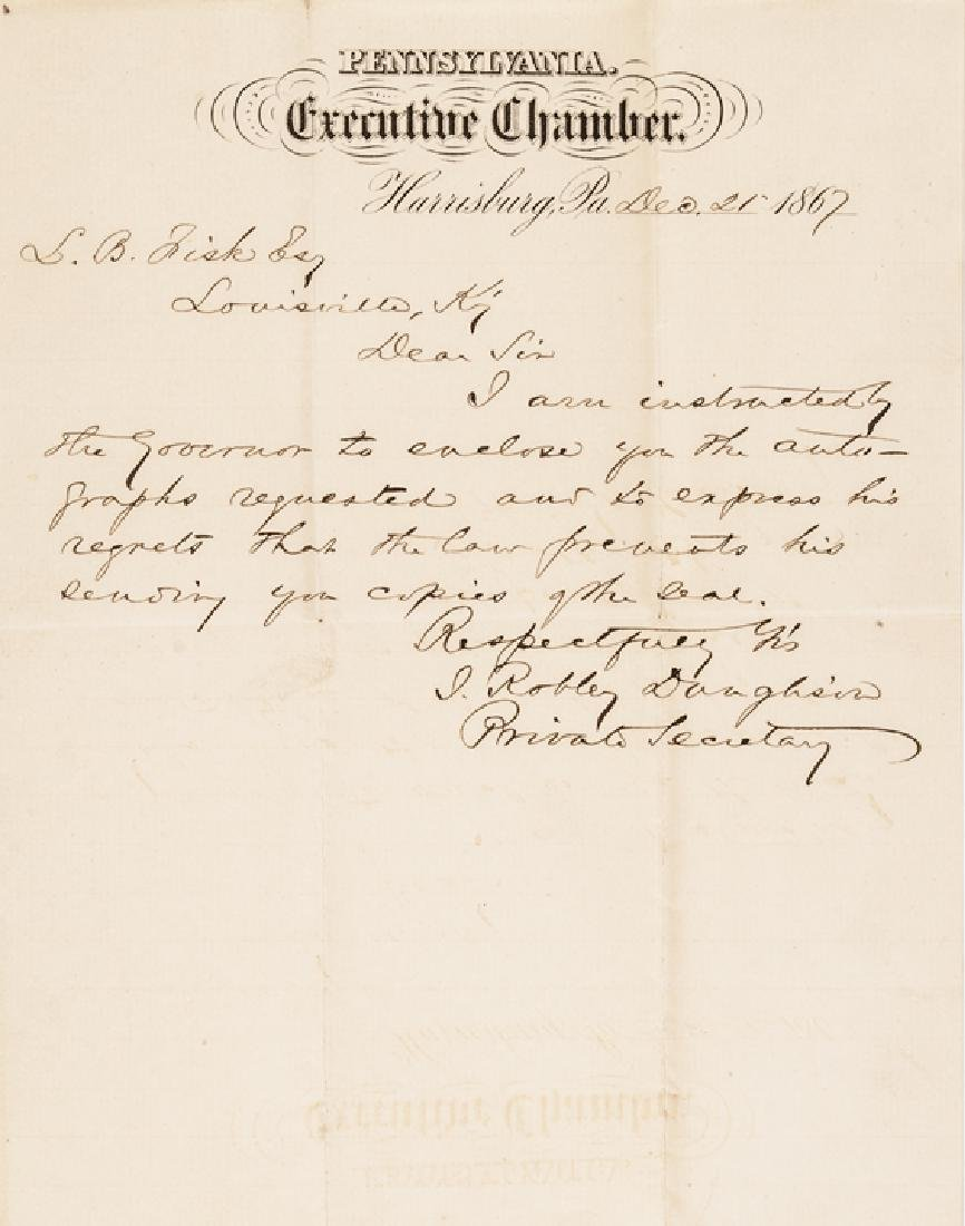 18 Autographs Civil War Politicians + Governors!