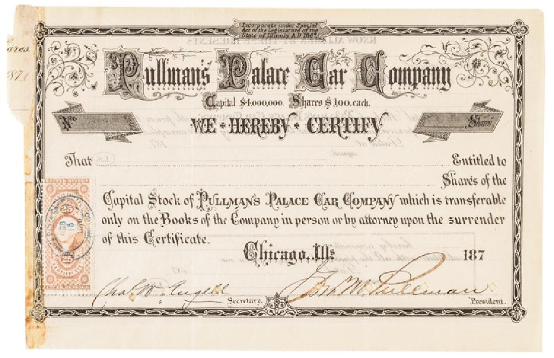 1870 GEORGE M. PULLMAN Signed Stock Certificate