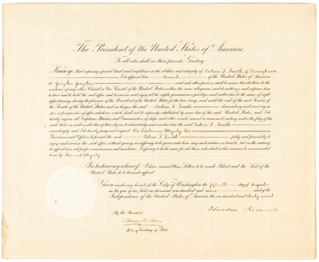 1907 President Theodore Roosevelt Signed Document