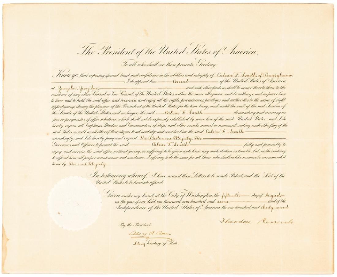 1907 President Theodore Roosevelt Signed Document