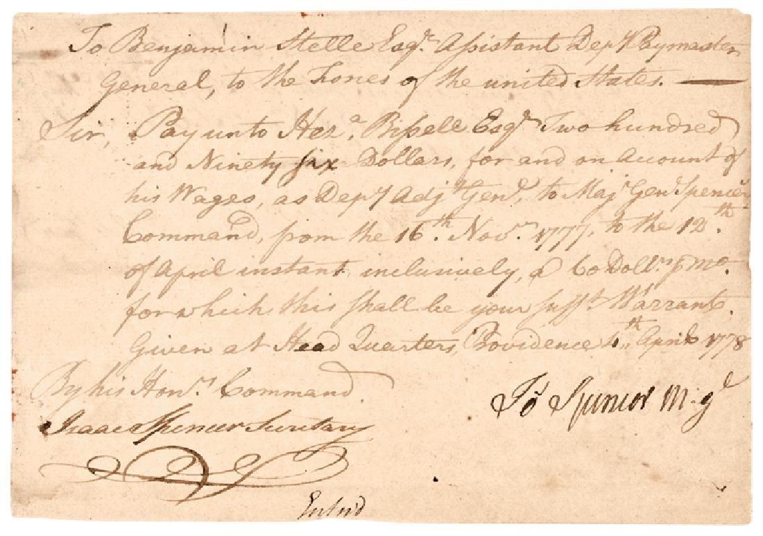 1778 JOSEPH SPENCER Continental Army Maj. General