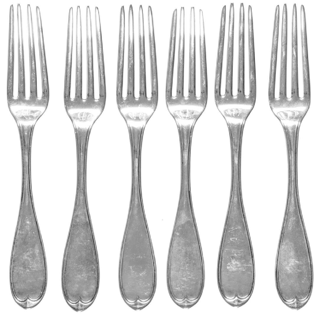 LUCY STONE Owned + Engraved Six Silver Forks Set