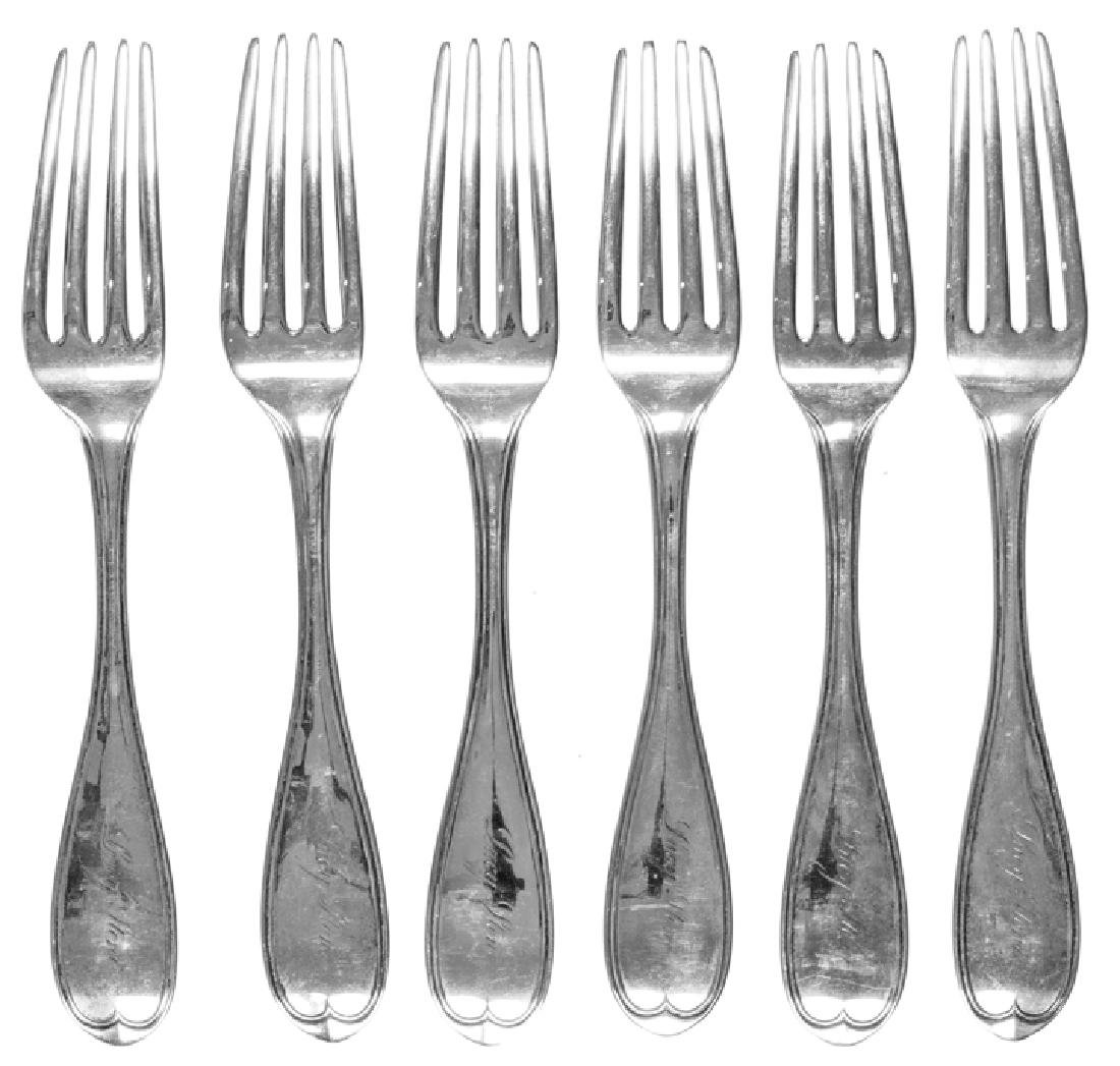 LUCY STONE Owned + Engraved Six Silver Forks Set - 2