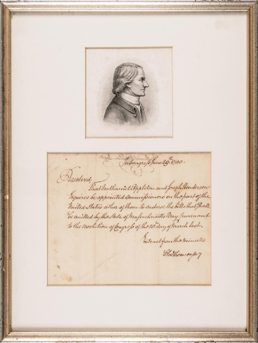 CHARLES THOMSON Treasury Autograph Letter Signed
