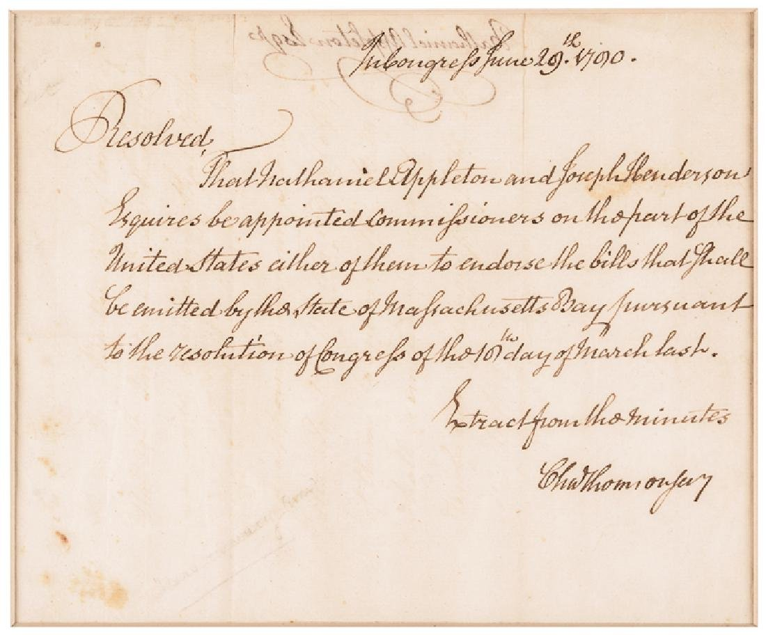 CHARLES THOMSON Treasury Autograph Letter Signed - 2