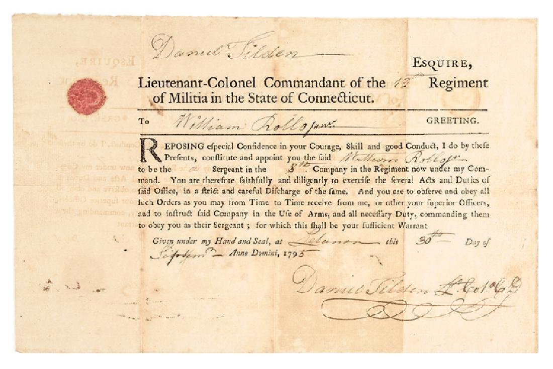 1795 COLONEL DANIEL TILDEN CT Militia Appointment