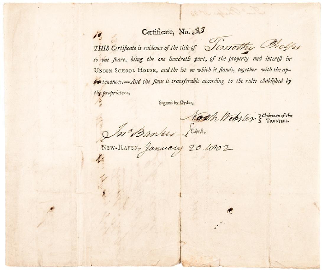 1802 NOAH WEBSTER Signed UNION SCHOOL HOUSE Stock