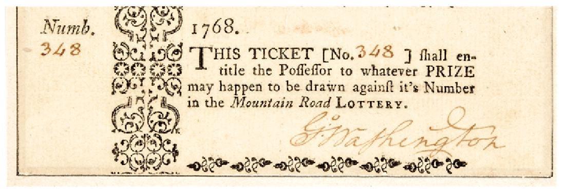 1768 GEORGE WASHINGTON Signed VA. Lottery Ticket!
