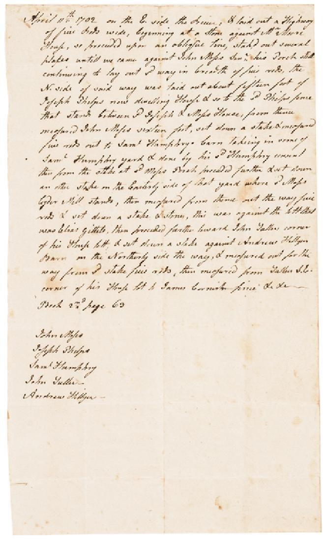1702 Late Pilgrim Era Colonial Conn. Document