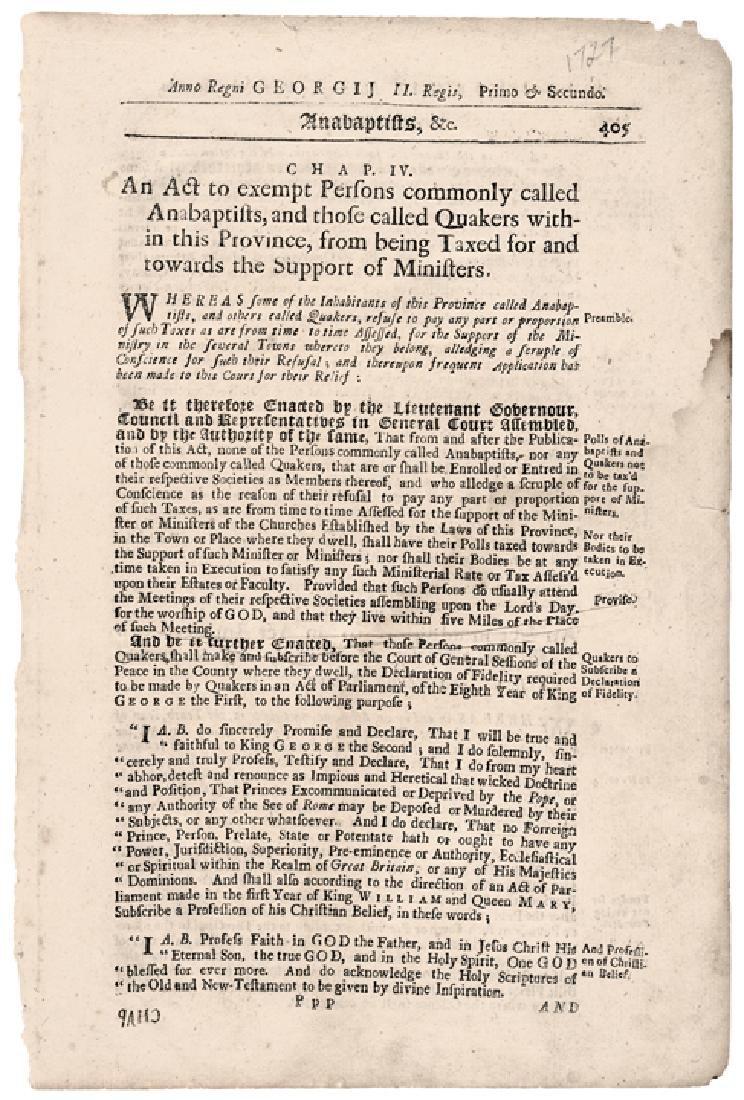 (1727) Historic Massachusetts Act Exempt Quakers